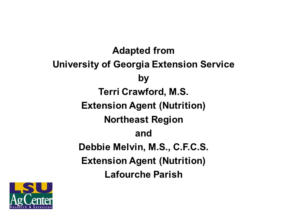 University of Georgia Extension Service Extension Agent (Nutrition)