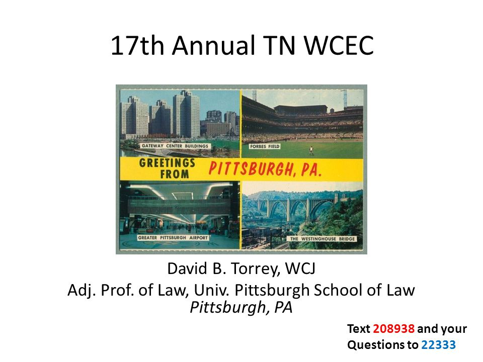 17th Annual TN WCEC David B. Torrey, WCJ Adj. Prof. of Law, Univ. Pittsburgh School of Law Pittsburgh, PA