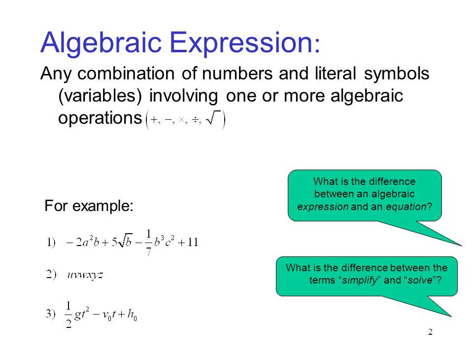 Algebraic Expression: