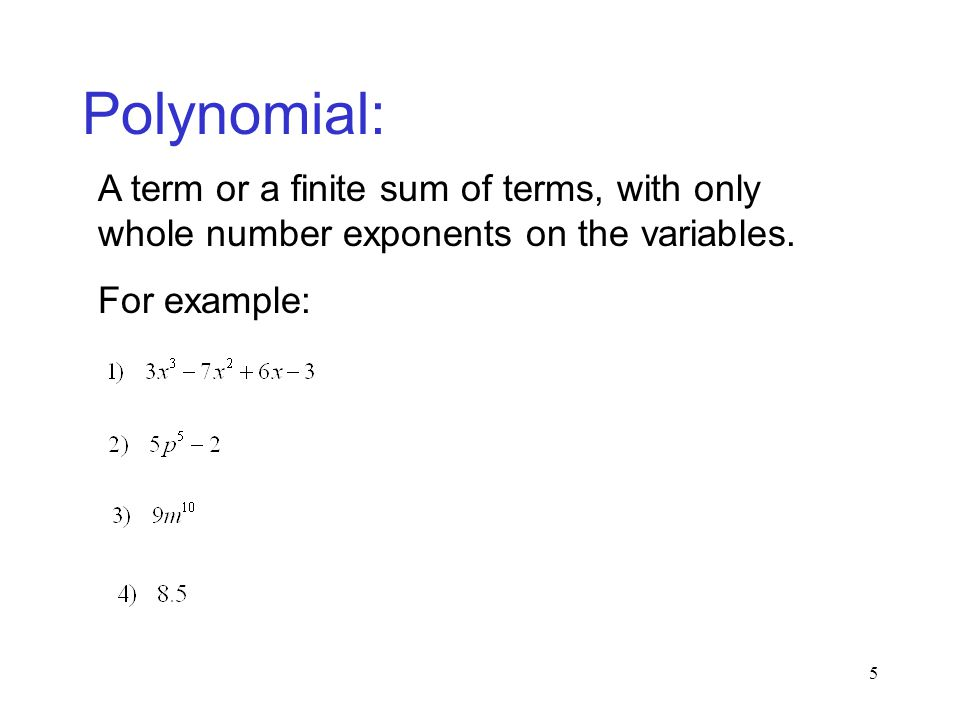 Polynomial: A term or a finite sum of terms, with only whole number exponents on the variables.