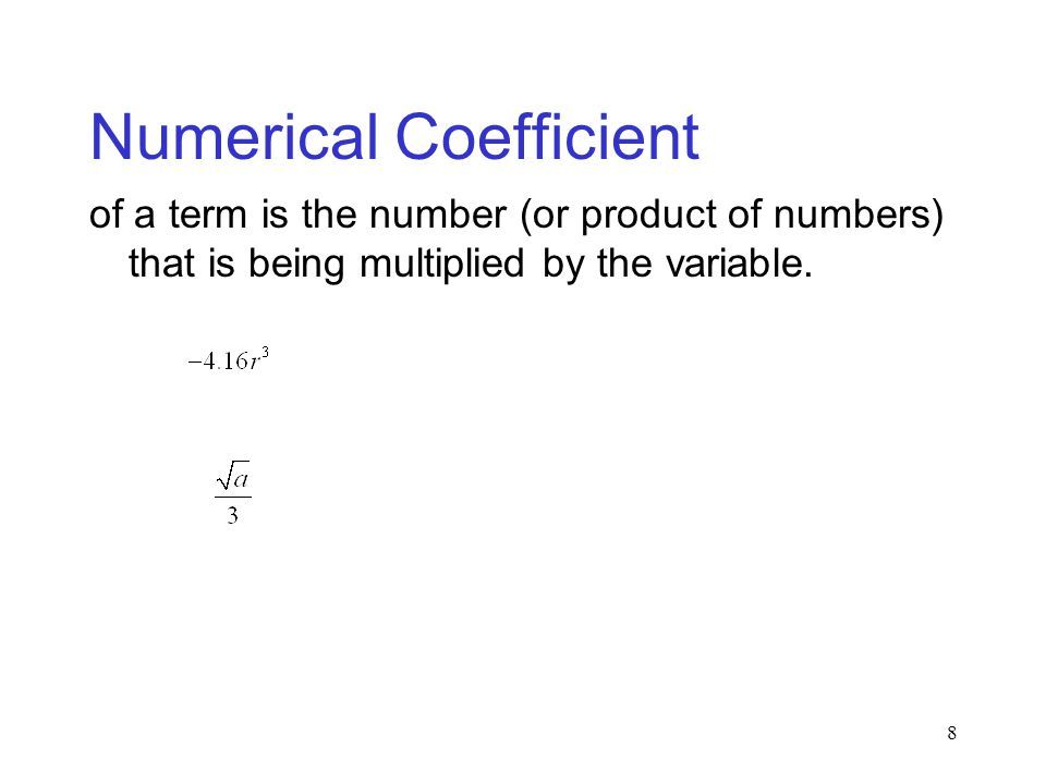 Numerical Coefficient
