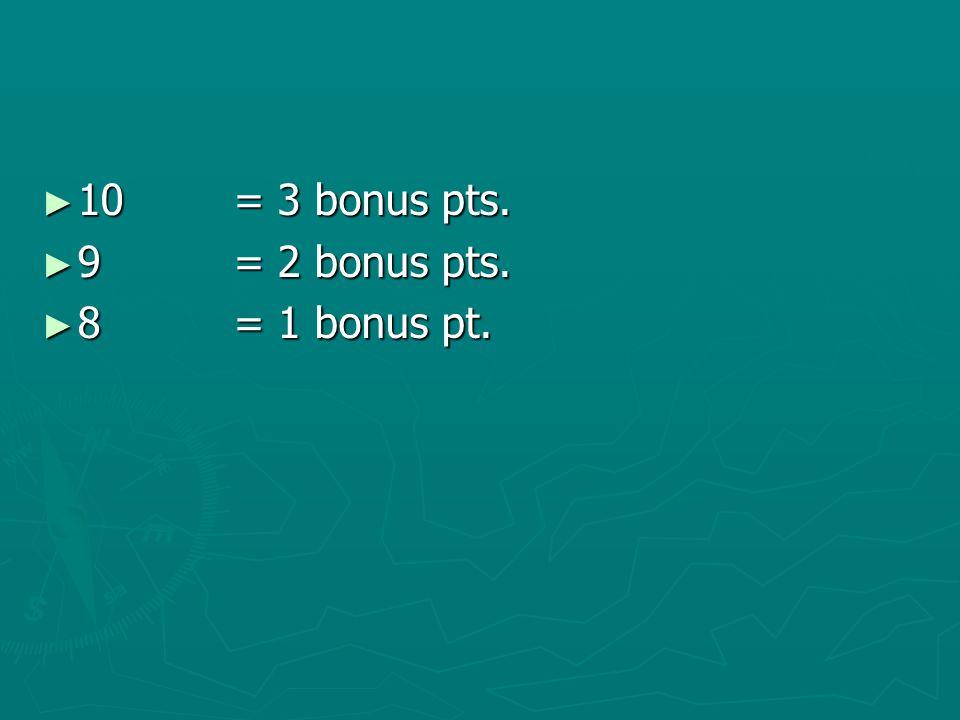10 = 3 bonus pts. 9 = 2 bonus pts. 8 = 1 bonus pt.