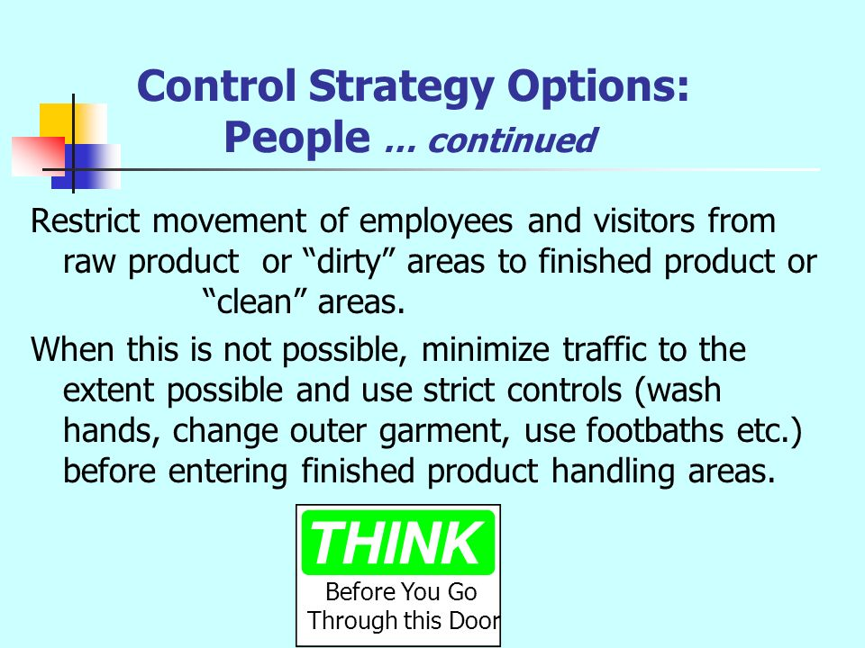 Control Strategy Options: People … continued