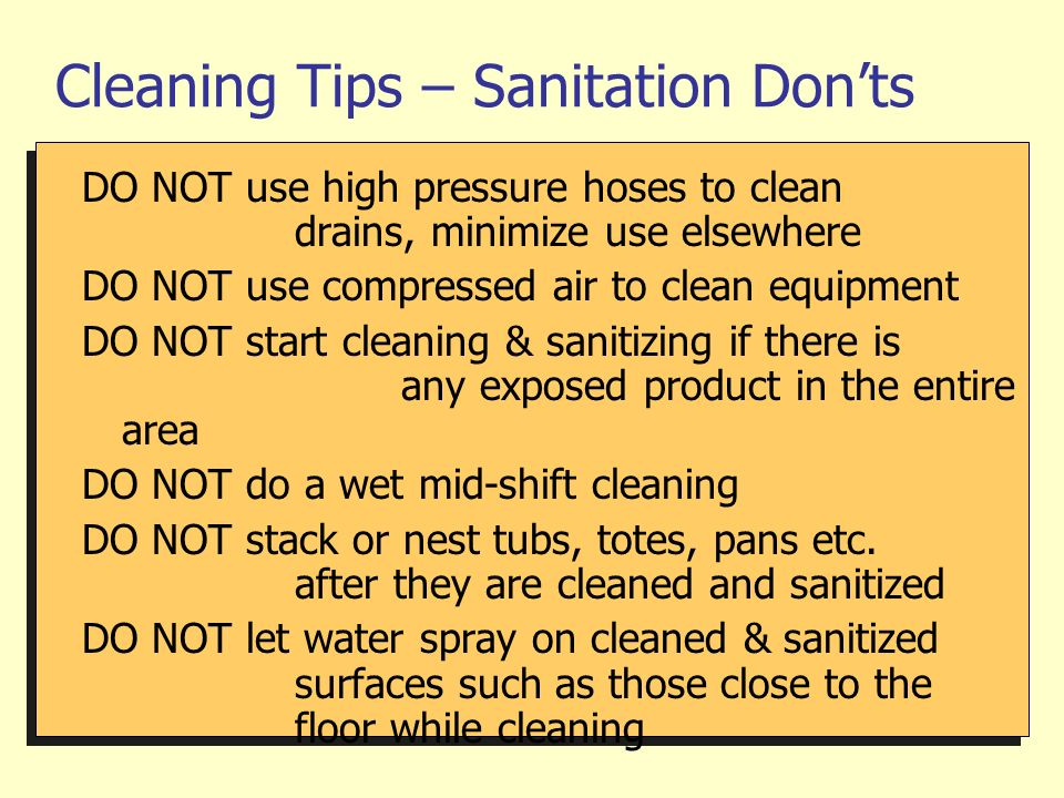 Cleaning Tips – Sanitation Don'ts