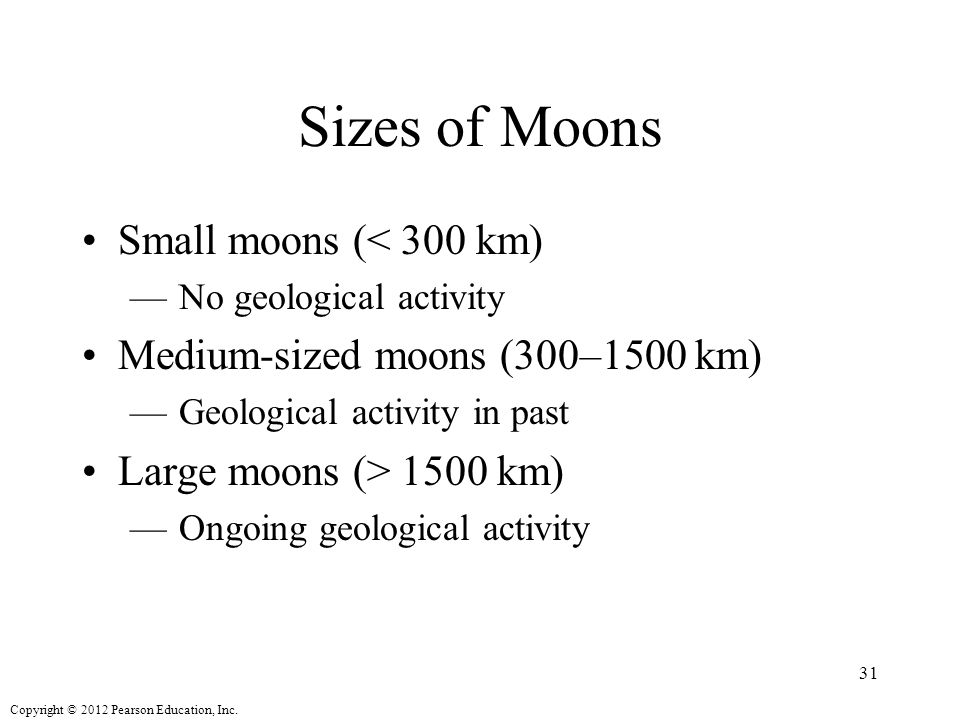 Sizes of Moons Small moons (< 300 km)