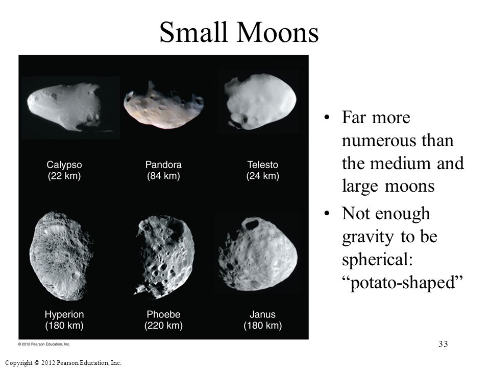 Small Moons Far more numerous than the medium and large moons