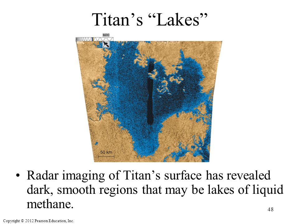 Titan's Lakes Radar imaging of Titan's surface has revealed dark, smooth regions that may be lakes of liquid methane.