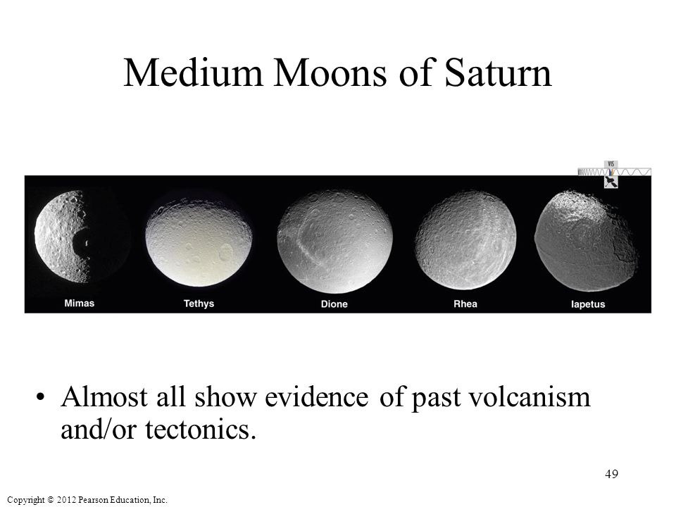 Medium Moons of Saturn Almost all show evidence of past volcanism and/or tectonics.