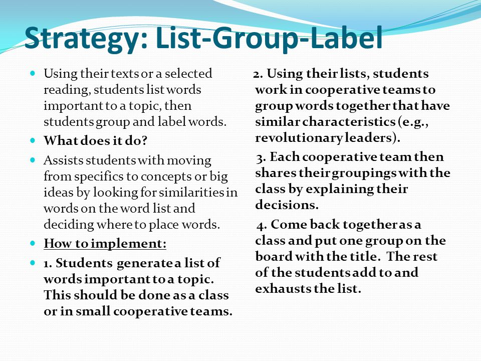 Strategy: List-Group-Label