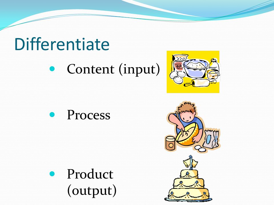 Differentiate Content (input) Process Product (output)