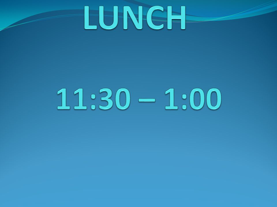 LUNCH 11:30 – 1:00