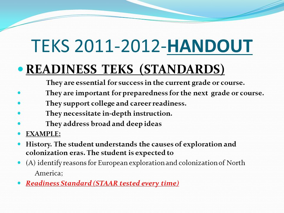 TEKS 2011-2012-HANDOUT READINESS TEKS (STANDARDS)