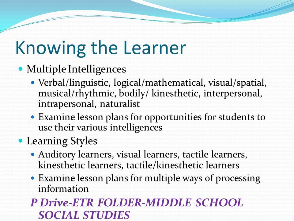 Knowing the Learner P Drive-ETR FOLDER-MIDDLE SCHOOL SOCIAL STUDIES