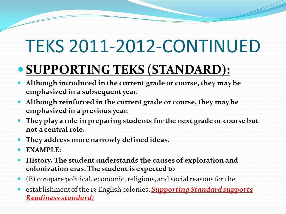 TEKS 2011-2012-CONTINUED SUPPORTING TEKS (STANDARD):