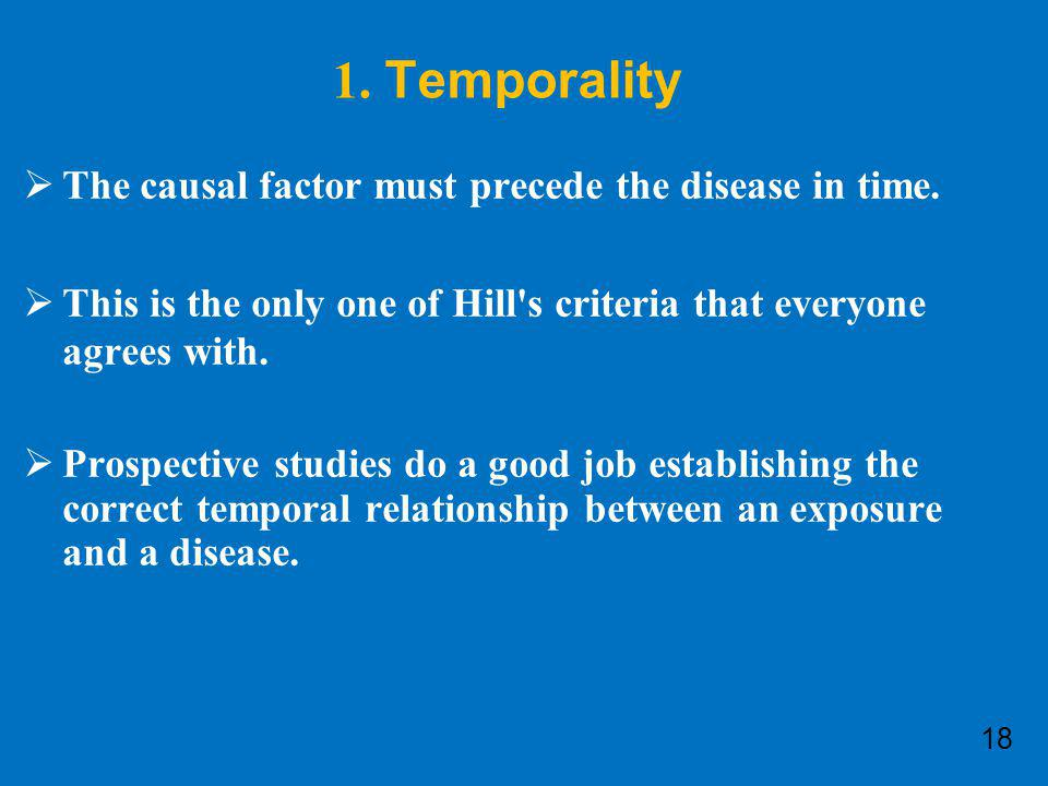 1. Temporality The causal factor must precede the disease in time.
