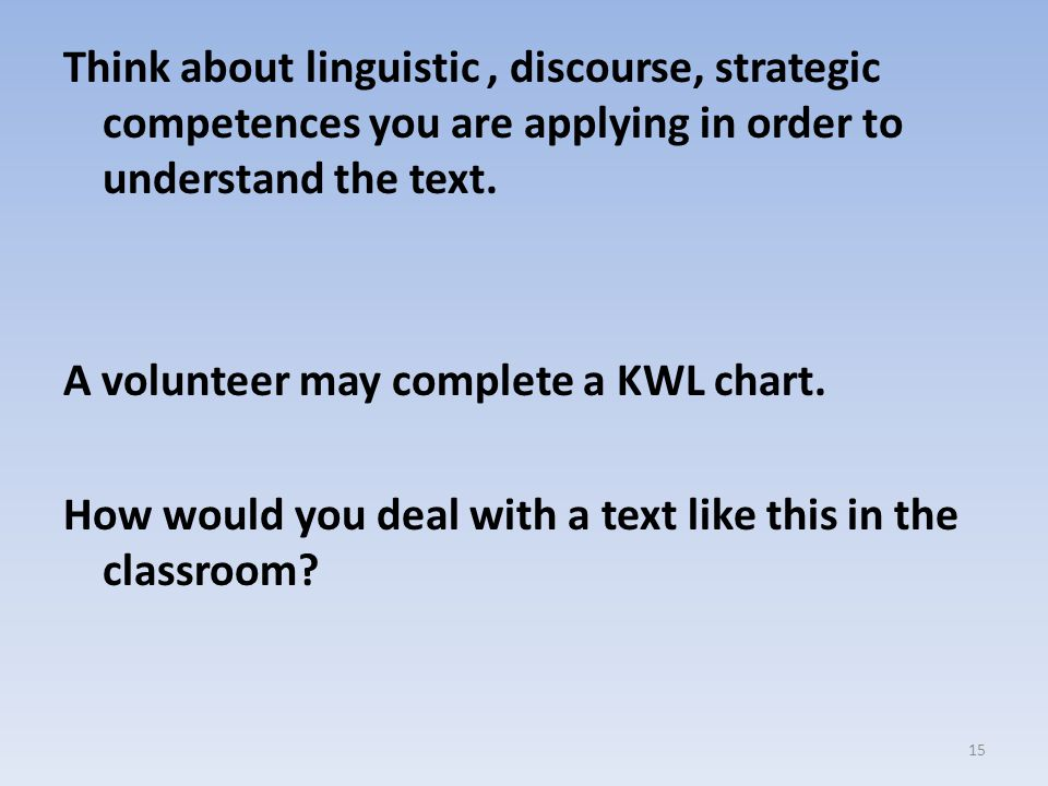 Think about linguistic , discourse, strategic competences you are applying in order to understand the text.