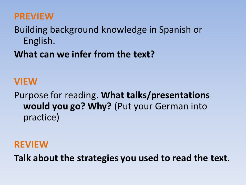 PREVIEW Building background knowledge in Spanish or English