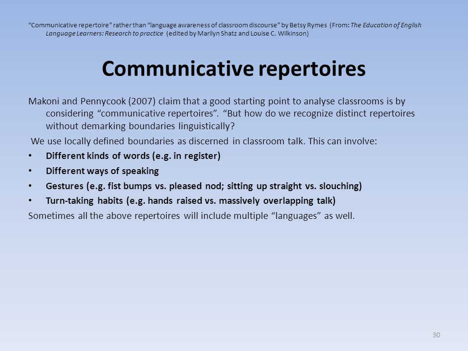 Communicative repertoires