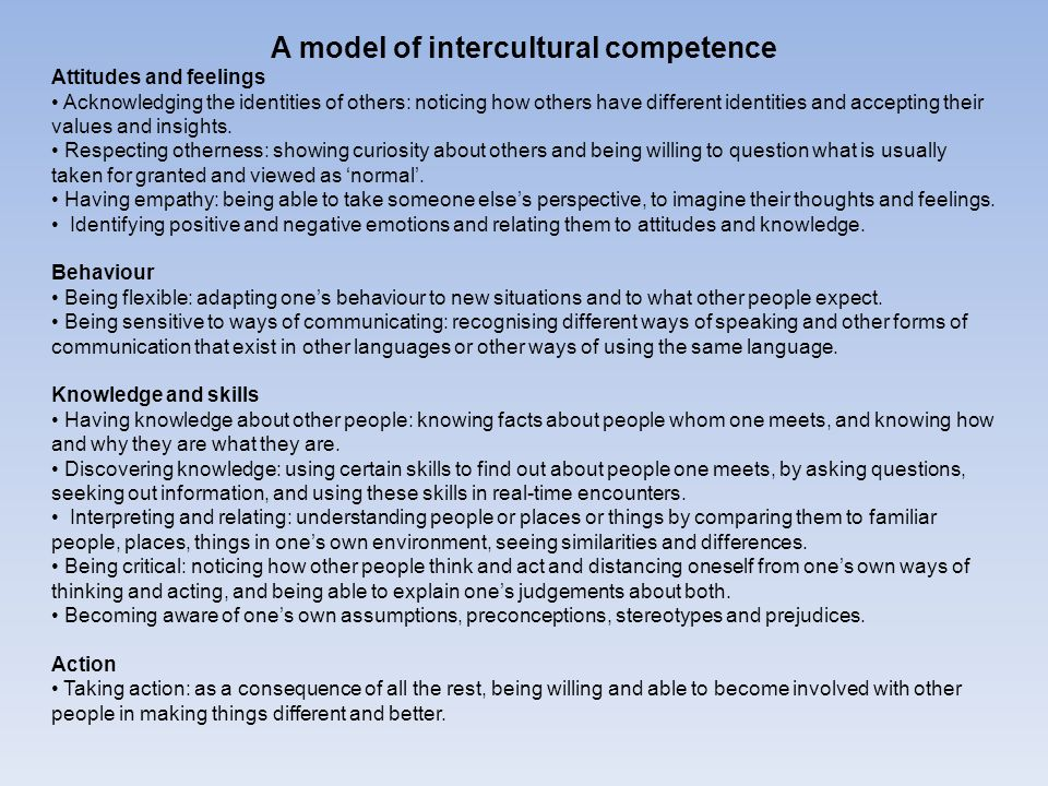 A model of intercultural competence