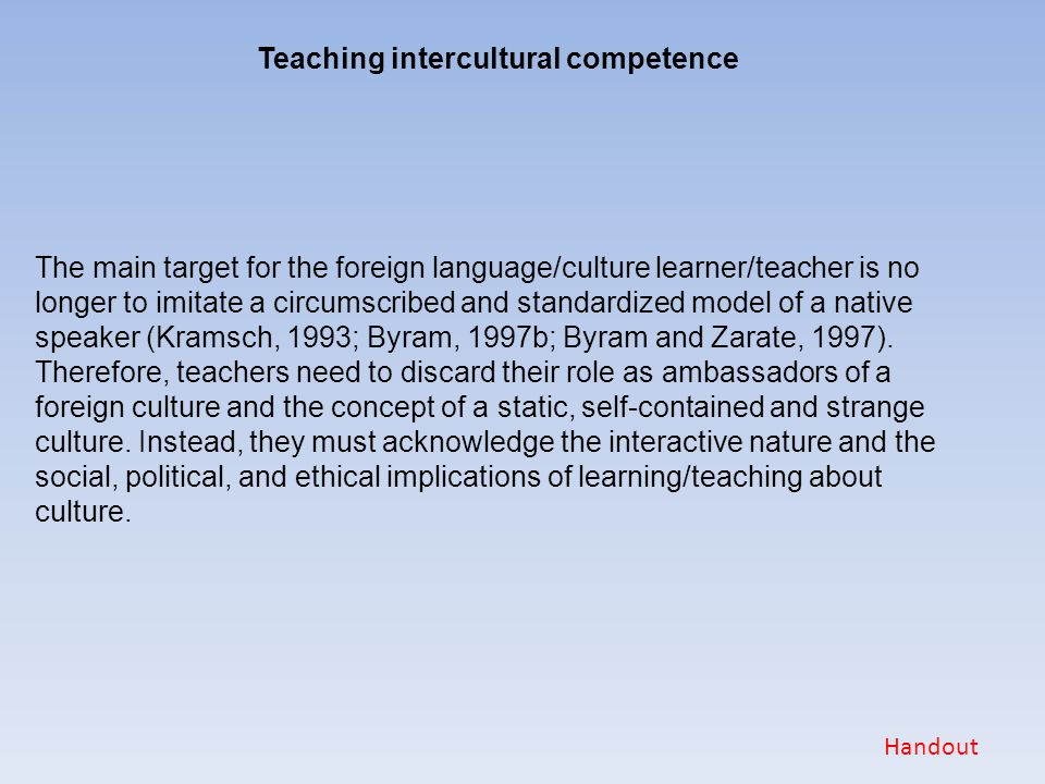 Teaching intercultural competence