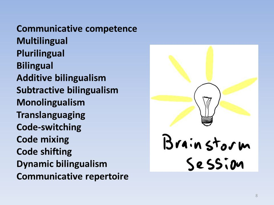 Communicative competence Multilingual Plurilingual Bilingual Additive bilingualism Subtractive bilingualism Monolingualism Translanguaging Code-switching Code mixing Code shifting Dynamic bilingualism Communicative repertoire