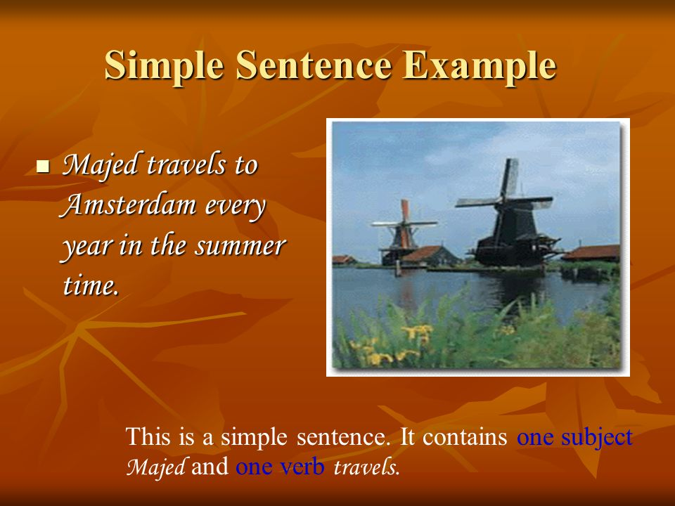 Simple Sentence Example
