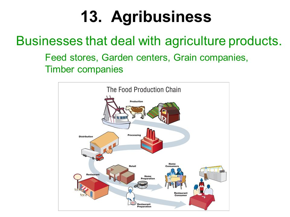 13. Agribusiness Businesses that deal with agriculture products.