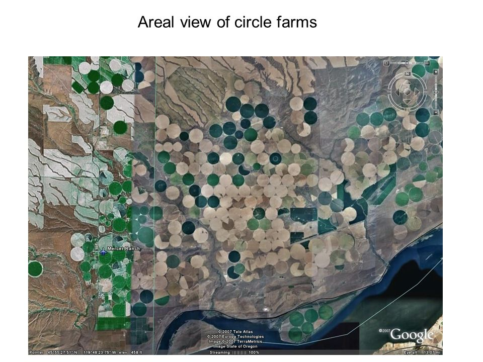 Areal view of circle farms