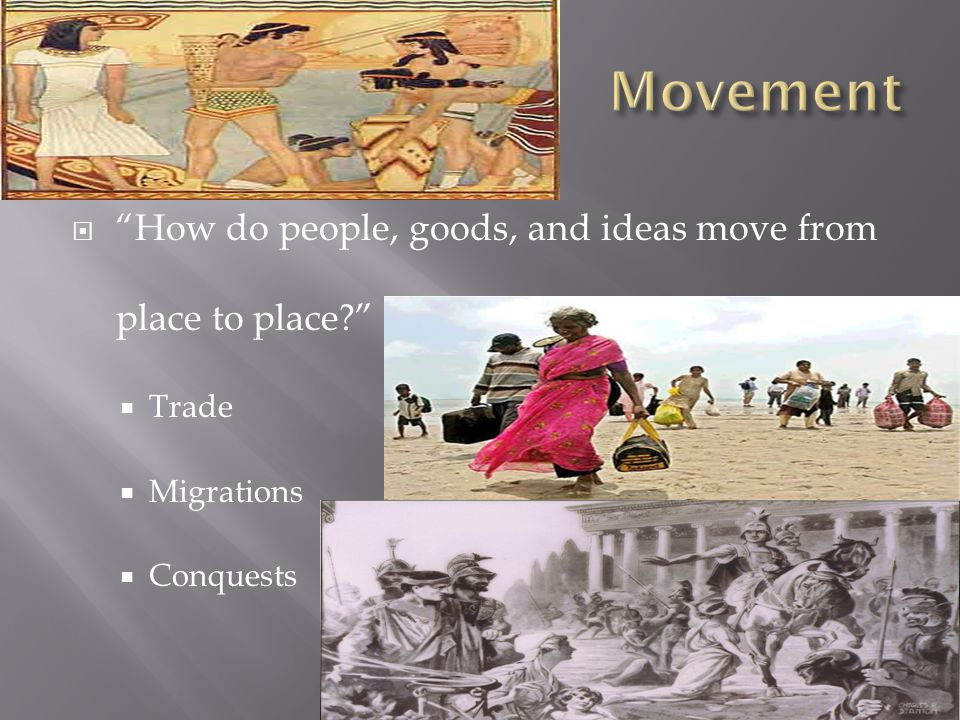 Movement How do people, goods, and ideas move from place to place