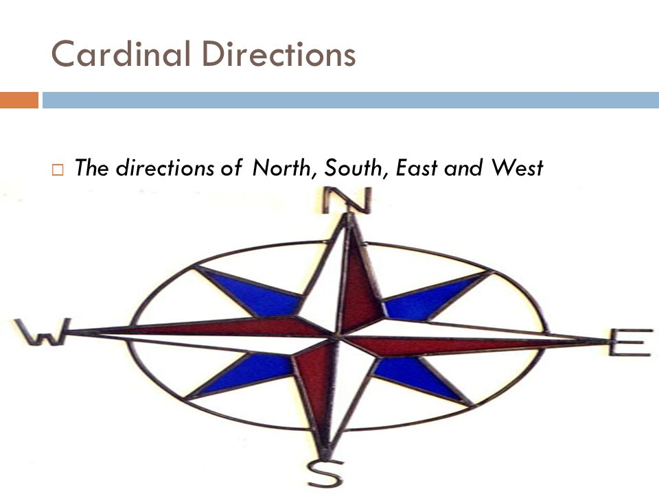 Cardinal Directions The directions of North, South, East and West