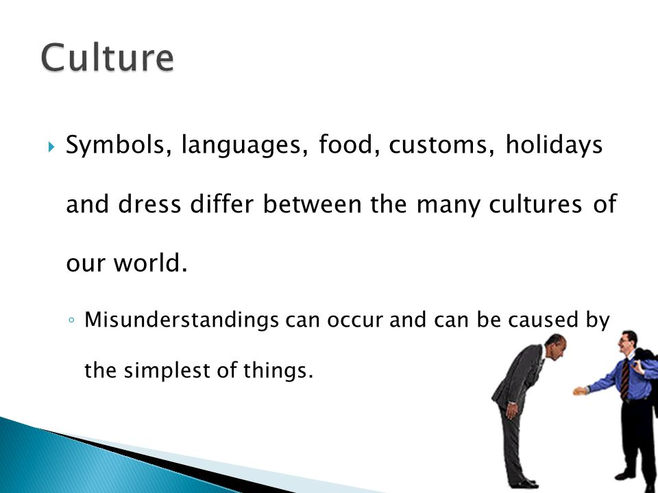 Culture Symbols, languages, food, customs, holidays and dress differ between the many cultures of our world.