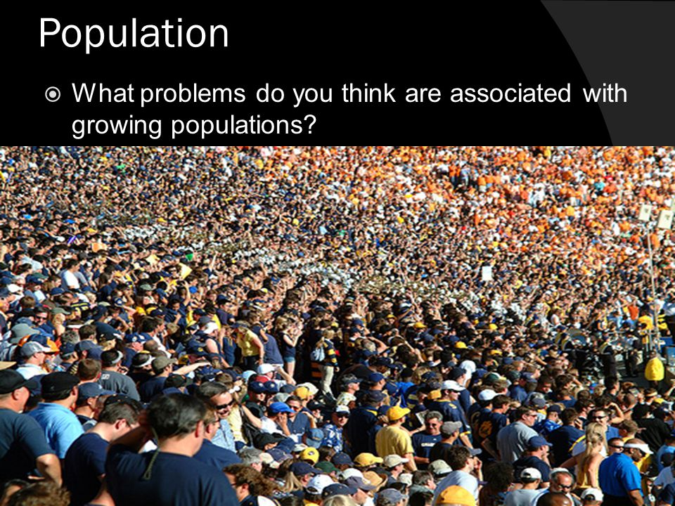 Population What problems do you think are associated with growing populations