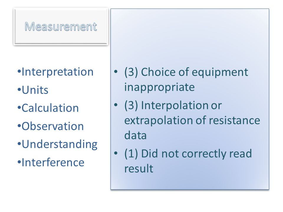 Measurement (3) Choice of equipment inappropriate. (3) Interpolation or extrapolation of resistance data.