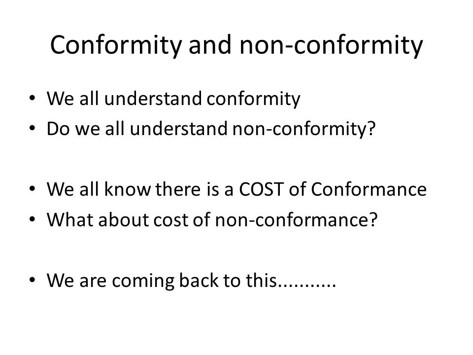 Conformity and non-conformity