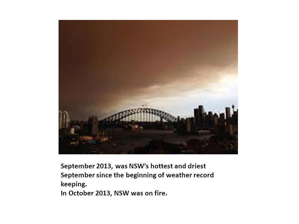 September 2013, was NSW's hottest and driest September since the beginning of weather record keeping.