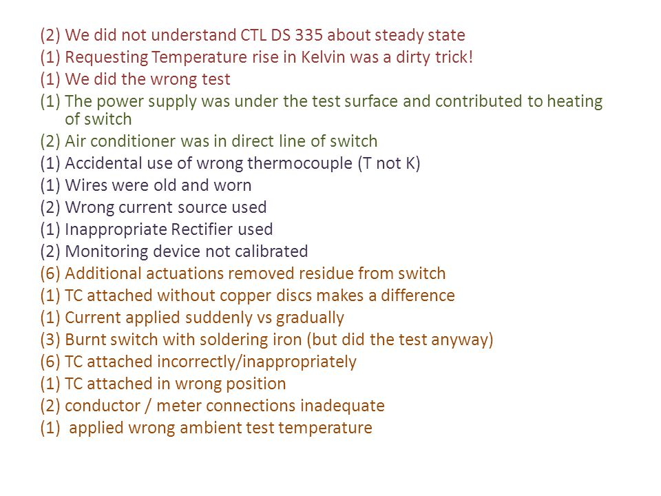 (2) We did not understand CTL DS 335 about steady state