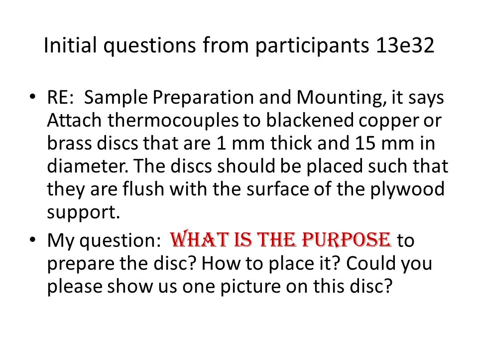 Initial questions from participants 13e32