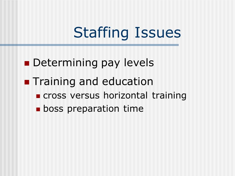 Staffing Issues Determining pay levels Training and education