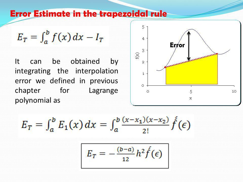 Error Estimate in the trapezoidal rule