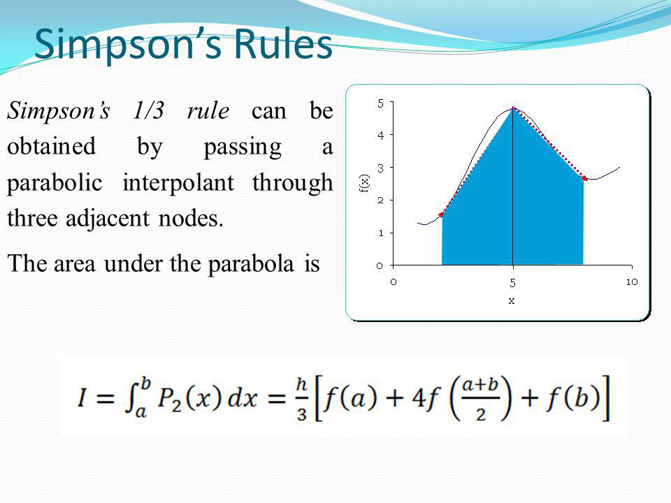 Simpson's Rules Simpson's 1/3 rule can be obtained by passing a parabolic interpolant through three adjacent nodes.