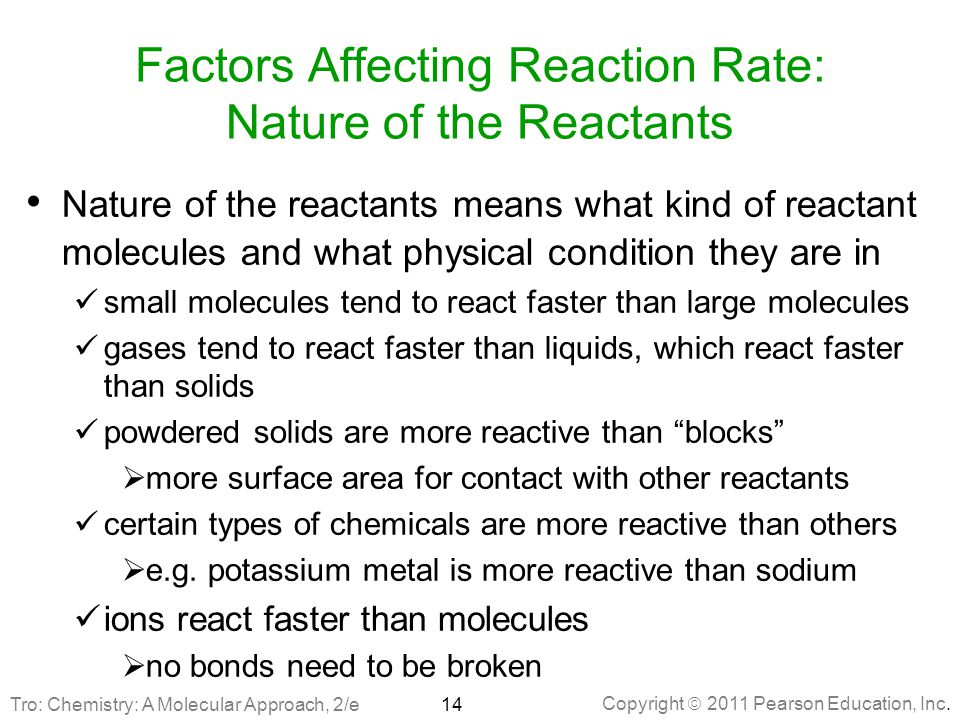 Factors Affecting Reaction Rate: Nature of the Reactants
