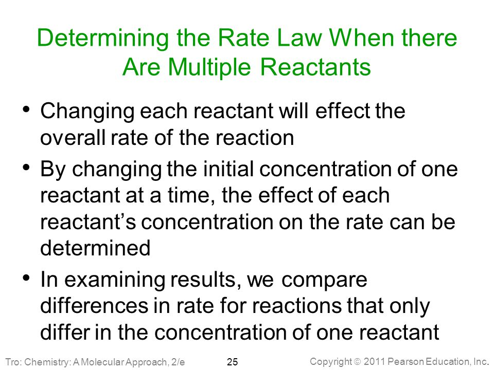 Determining the Rate Law When there Are Multiple Reactants