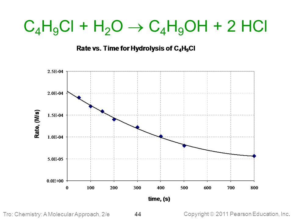 C4H9Cl + H2O  C4H9OH + 2 HCl Tro: Chemistry: A Molecular Approach, 2/e