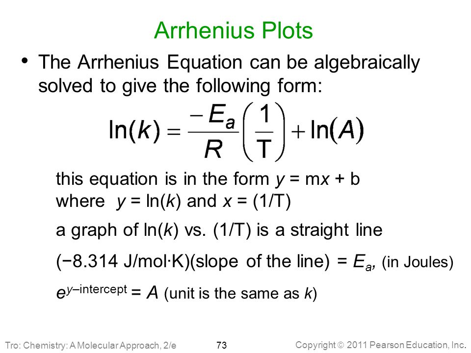 Arrhenius Plots The Arrhenius Equation can be algebraically solved to give the following form: this equation is in the form y = mx + b.
