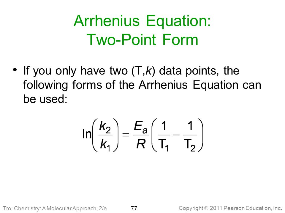Arrhenius Equation: Two-Point Form