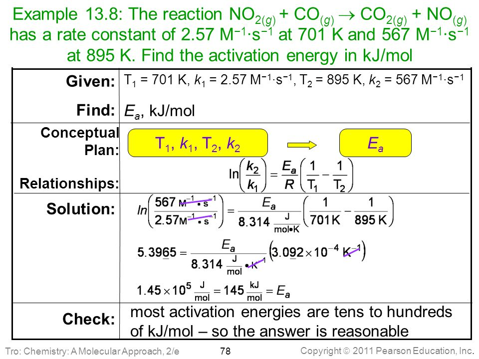 Example 13.8: The reaction NO2(g) + CO(g)  CO2(g) + NO(g) has a rate constant of 2.57 M−1∙s−1 at 701 K and 567 M−1∙s−1 at 895 K. Find the activation energy in kJ/mol