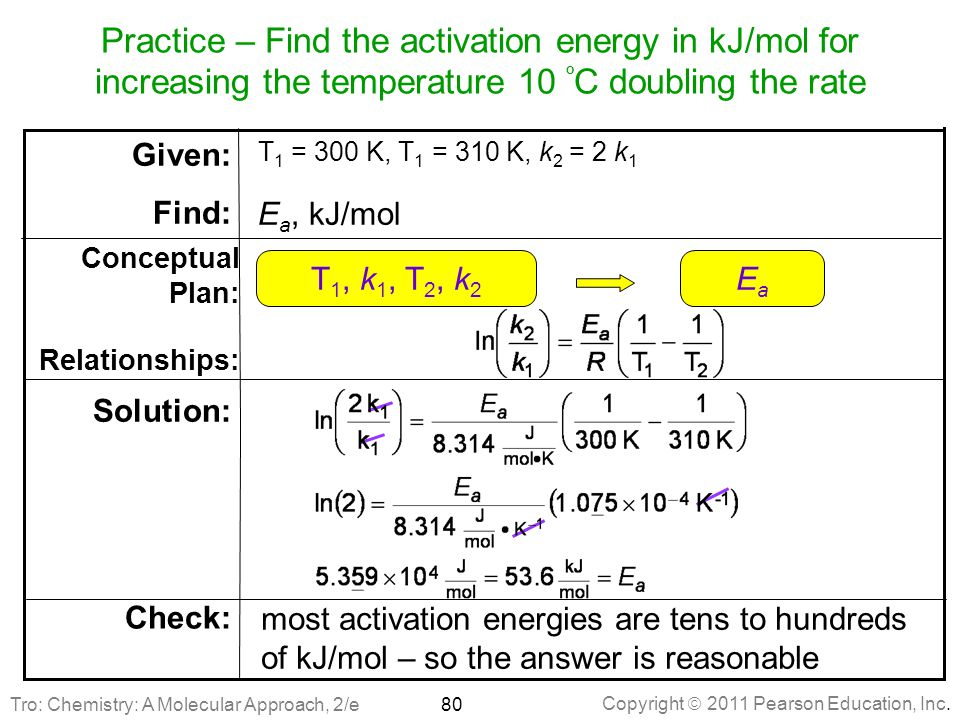 Practice – Find the activation energy in kJ/mol for increasing the temperature 10 ºC doubling the rate