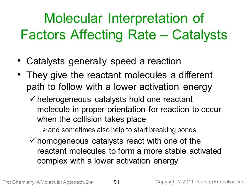 Molecular Interpretation of Factors Affecting Rate – Catalysts