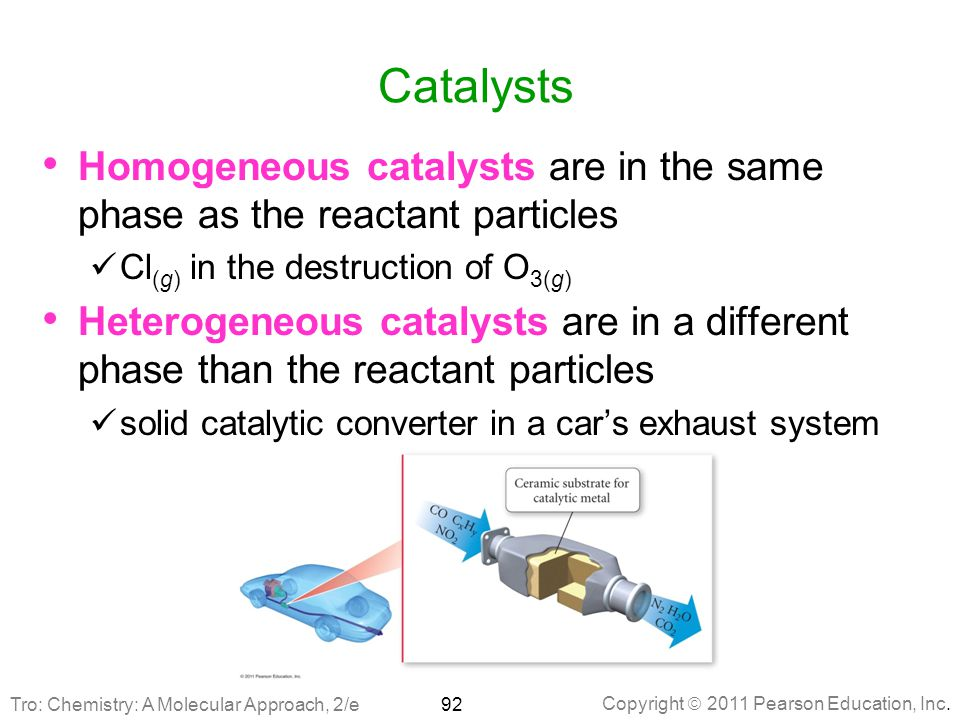 Catalysts Homogeneous catalysts are in the same phase as the reactant particles. Cl(g) in the destruction of O3(g)