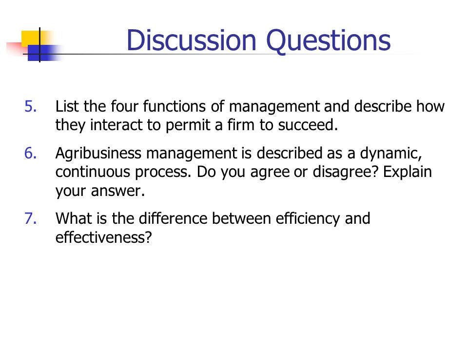 Discussion Questions List the four functions of management and describe how they interact to permit a firm to succeed.